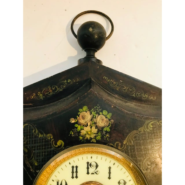 19th Century Tole Painted Decorative Wall Clock For Sale - Image 4 of 7