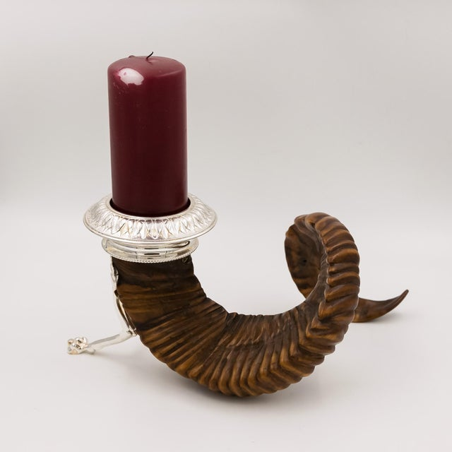 Scottish Rams Horn and Silver Candle Holder, Mid-19th Century For Sale - Image 4 of 9