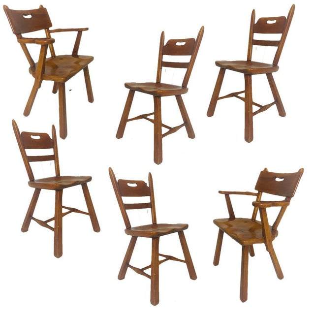 American Set of 6 Cushman Vermont Rock Maple Dining Chairs Designed by Herman DeVries For Sale - Image 3 of 13