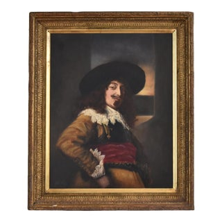 Antique 19th-Century Oil Painting After Frans Hals - Portrait of an Officer For Sale