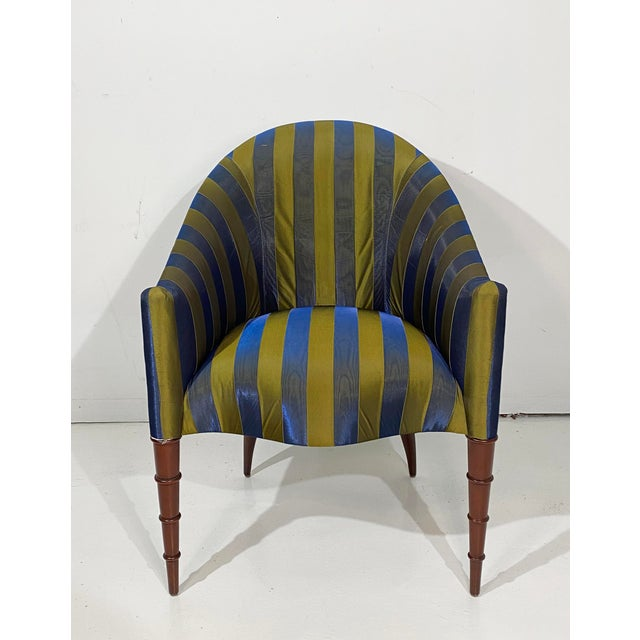 Hollywood Regency Elegant Upholstered Accent Chair With Turned Legs Attributed to Donghia For Sale - Image 3 of 10