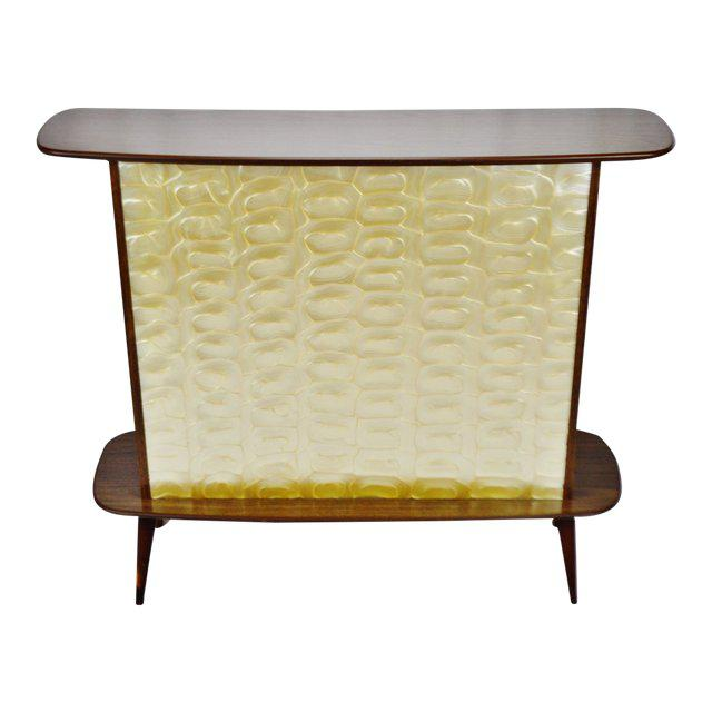 Mid Century Modern Walnut Formica & Faux Mother of Pearl Dry Bar For Sale - Image 13 of 13