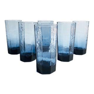 Vintage Octagonal Blue Glasses - Set of 6 For Sale