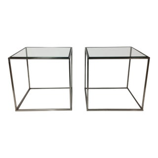 1970s Mid-Century Modern Brushed Chrome Steel Glass Topped Side Tables - a Pair For Sale