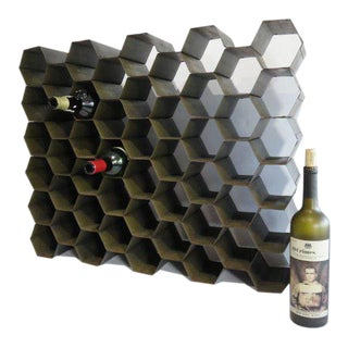 1960s Patinated Steel Metal Honeycomb Wine Rack Mid Century Modern For Sale