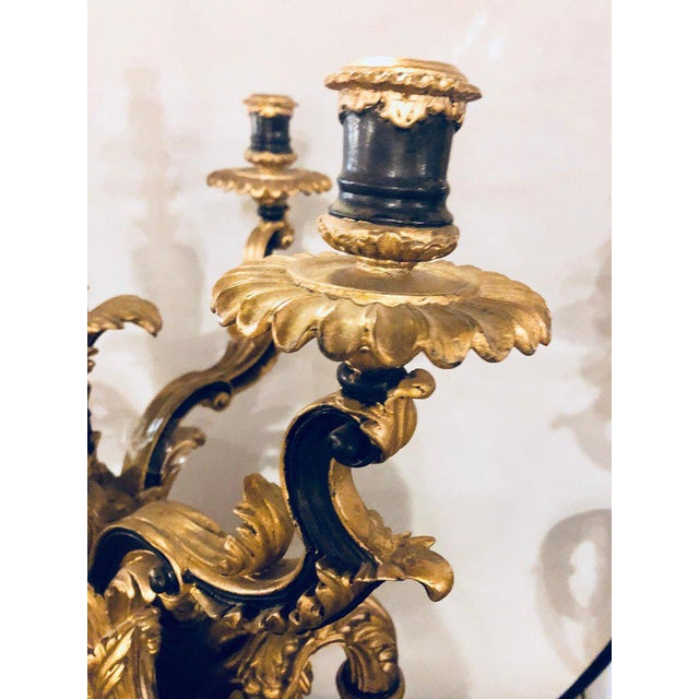 Pair of Monumental Italian Antique Ebony and Gilt Urn Sconces or Candelabras For Sale - Image 11 of 12