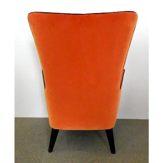 Pair of Italian Mid Century Modern Reupholstered Orange Velvet Armchairs, 1960s For Sale In Dallas - Image 6 of 8