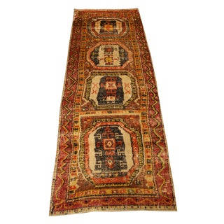 Antique Oushak Design Wool Runner Rug -7' X 2'7""
