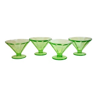 Green Glass Dessert Bowls - Set of 4 For Sale