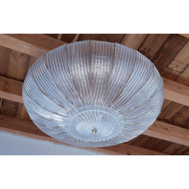 Art Deco Large Mid-Century Modern Round Clear Murano Glass Flush Mount For Sale - Image 3 of 12