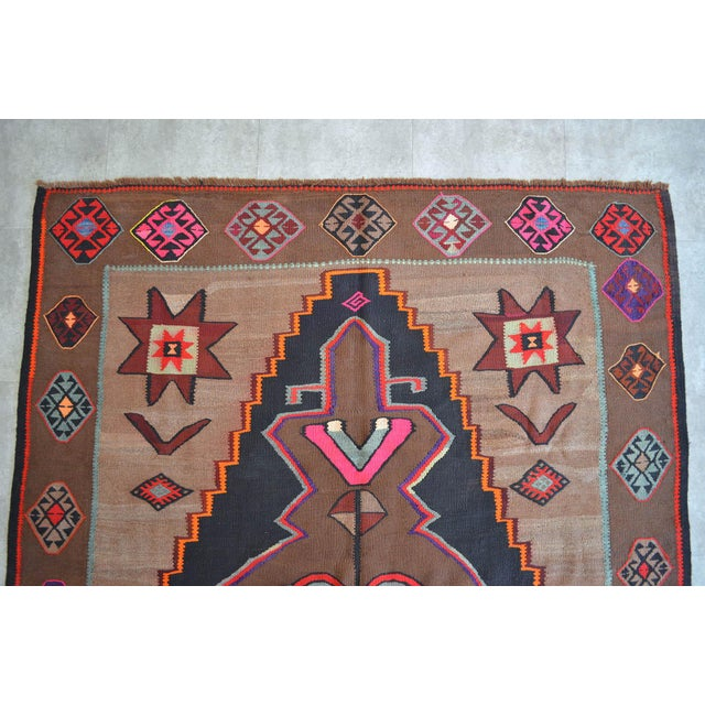 1960s Handwoven Turkish Kilim Rug Anatolia Rug - 7′1″ X 11′6″ For Sale - Image 5 of 10