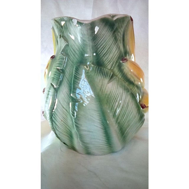 Vintage Mid-Century Italian Hand Painted Majolica Banana Pitcher For Sale - Image 4 of 13