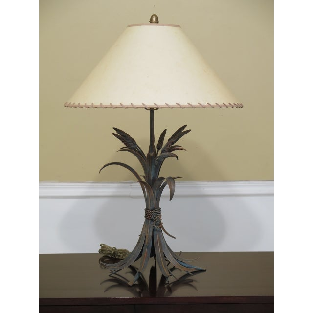 Metal Decorator Metal Wheat Sheaf Design Table Lamp For Sale - Image 7 of 7
