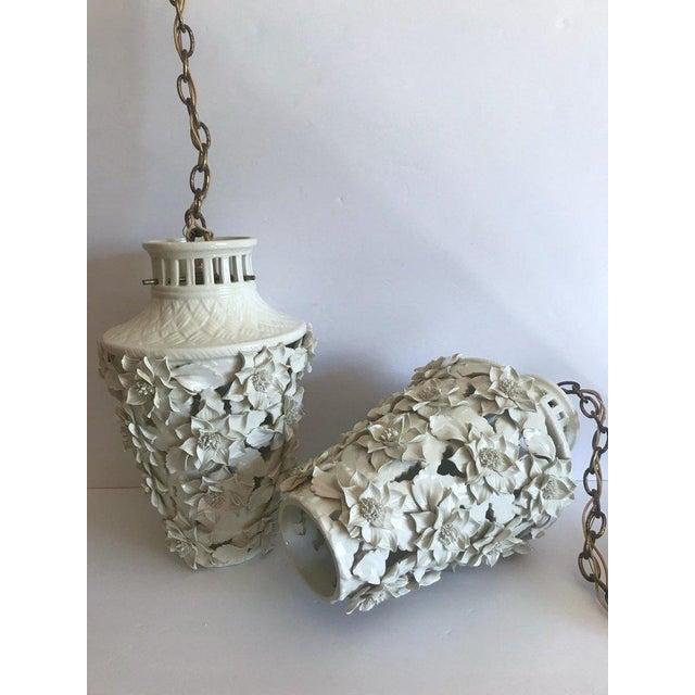 1960's Italian Blanc De Chine Floral Ceramic Pendant Lights For Sale - Image 9 of 13