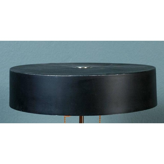 1960s Black Mid-Century Modern Table Lamp With Round Metal Shade, Circa 1960 For Sale - Image 5 of 8