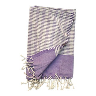 Turkish Tamam Yumi Handwoven Cotton Lavender Towel For Sale