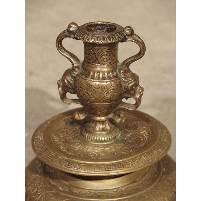 Bronze Pair of Antique French Renaissance Style Bronze Candlesticks, 19th Century For Sale - Image 8 of 13