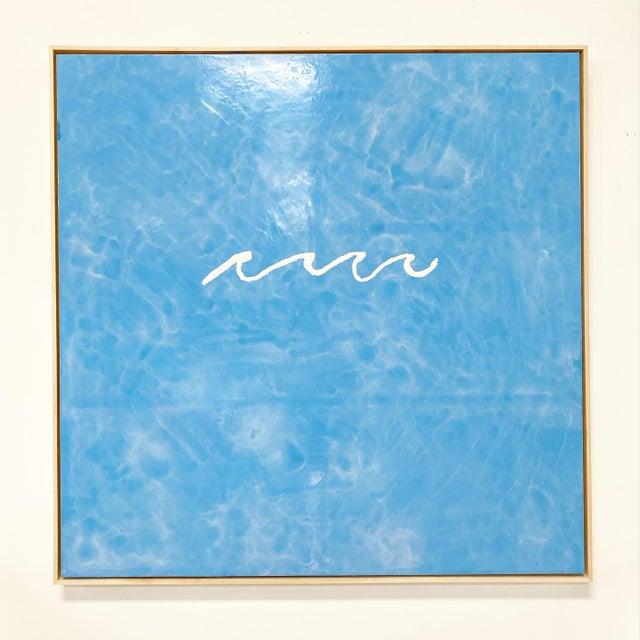 "Wood John O'Hara ""Wave"" Encaustic Painting For Sale - Image 7 of 7"