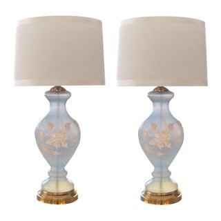An Ethereal Pair of American 1960's Frosted Ice-Blue Glass Baluster-Form Lamps With Raised Floral Decoration For Sale