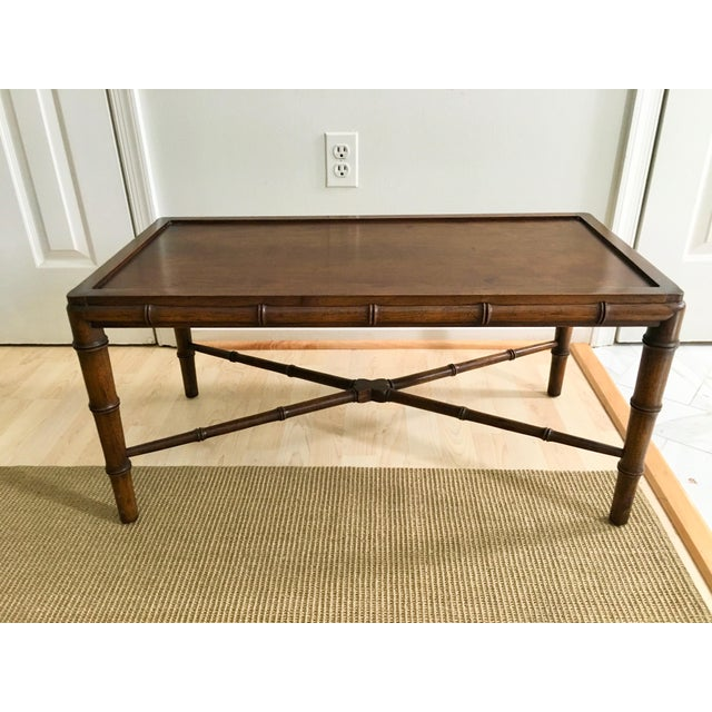 1970s 1970s Vintage Faux Bamboo Campaign Style Tray Table For Sale - Image 5 of 7