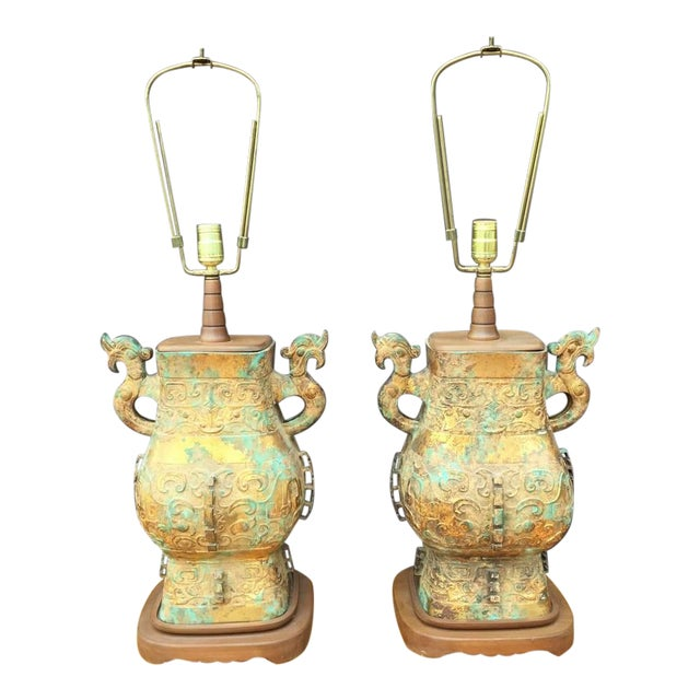 Pair of Asian Table Lamps For Sale