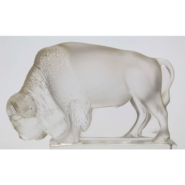 Art Deco Lalique Crystal Bison Paperweight For Sale - Image 3 of 4