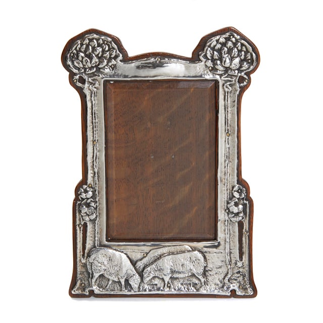 Pair of Art Nouveau Sterling Silver Pastoral Scene Picture Frames For Sale - Image 4 of 4