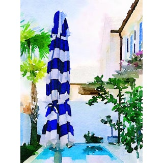 Cabana Stripe Pool Umbrella - Courtyard Pool - Swimming Pool Art - Digital Watercolor Print From Original Color Photograph by Suzanne MacCrone Rogers For Sale