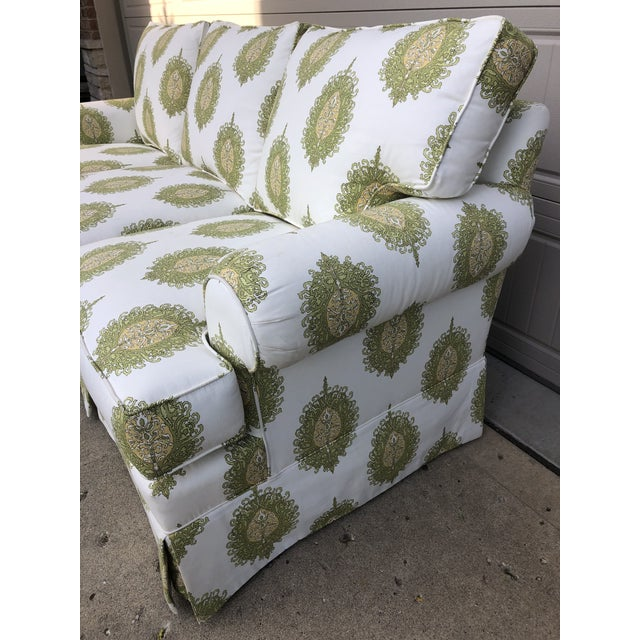 Modern Upholstered Ikat Print Sofa by Century Furniture For Sale In Chicago - Image 6 of 13