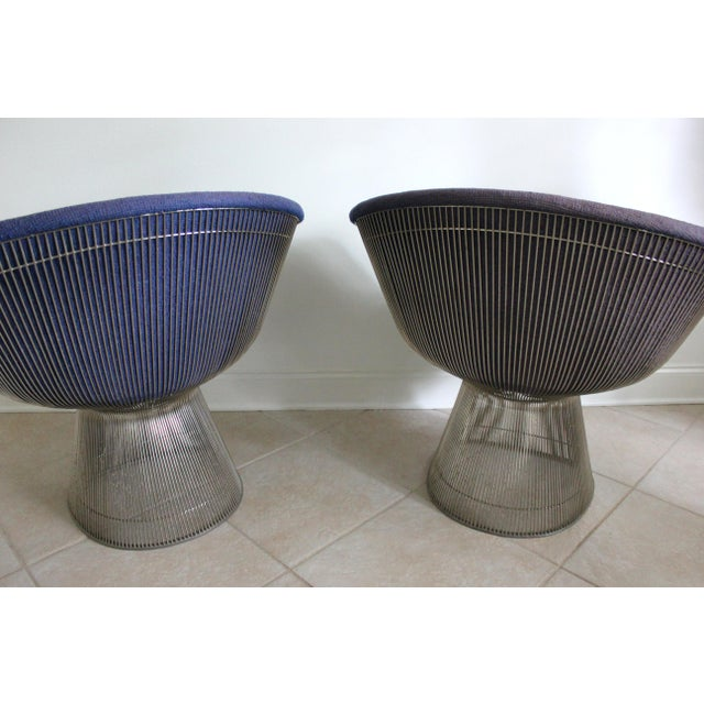 Knoll Warren Platner for Knoll Blue Upholstered Platner Lounge Chairs- a Pair For Sale - Image 4 of 10