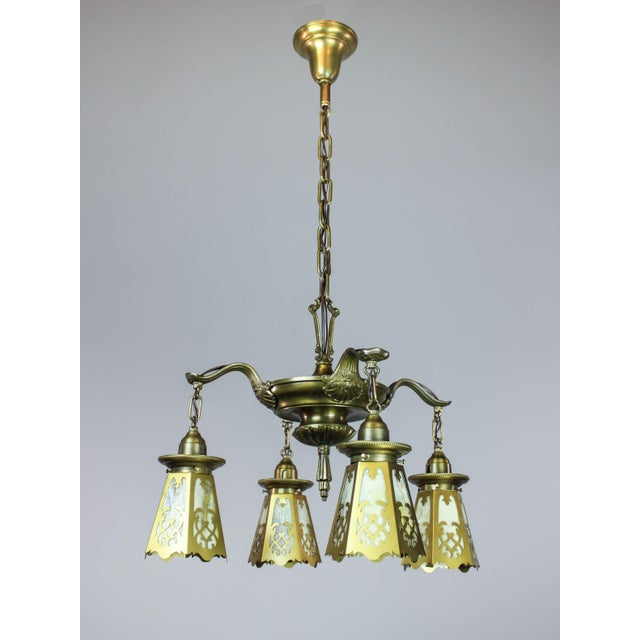 Antique Colonial Revival Pan Light Fixture (4-Light) - Image 3 of 11