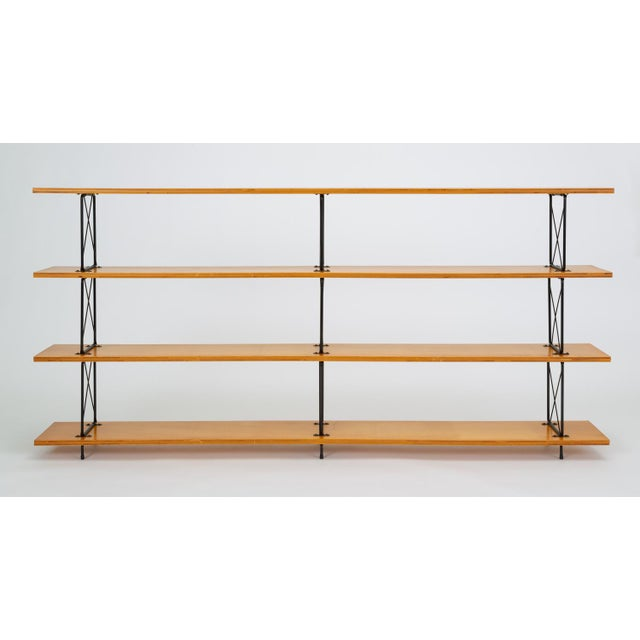 Modernist Mahogany Bookshelf With Black Wire Frame For Sale - Image 13 of 13