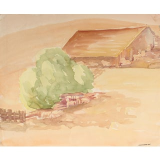 Mid 20th Century California Landscape With Barn Watercolor Painting For Sale