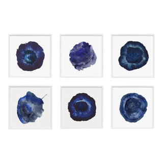 Set of 6 Blue Abstract Prints, Framed Set For Sale