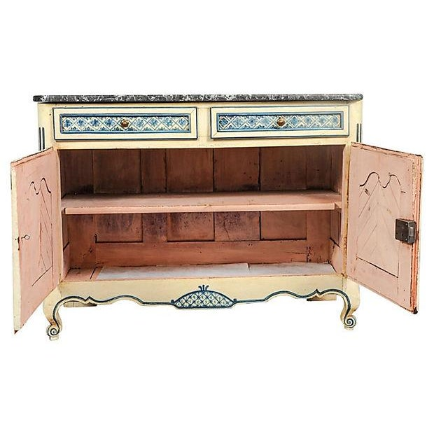 Antique 18th-century, French Provençal Louis XV-style hand-painted white pine buffet with marble top and two painted...
