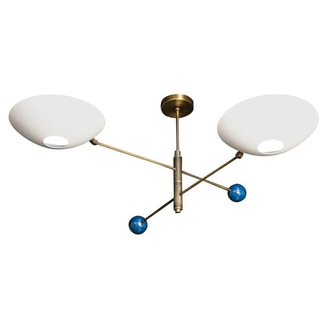 Not Yet Made - Made To Order Modern 2-Tier Catalonia Fixture in Enamel and Brass by Blueprint Lighting, Nyc For Sale - Image 5 of 5