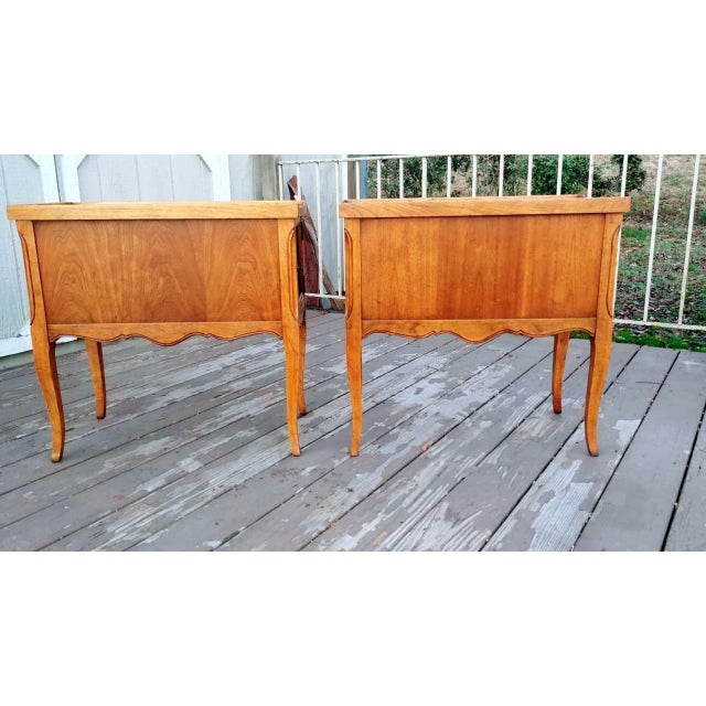 Gold 1980s French Walnut End Tables - a Pair For Sale - Image 8 of 13