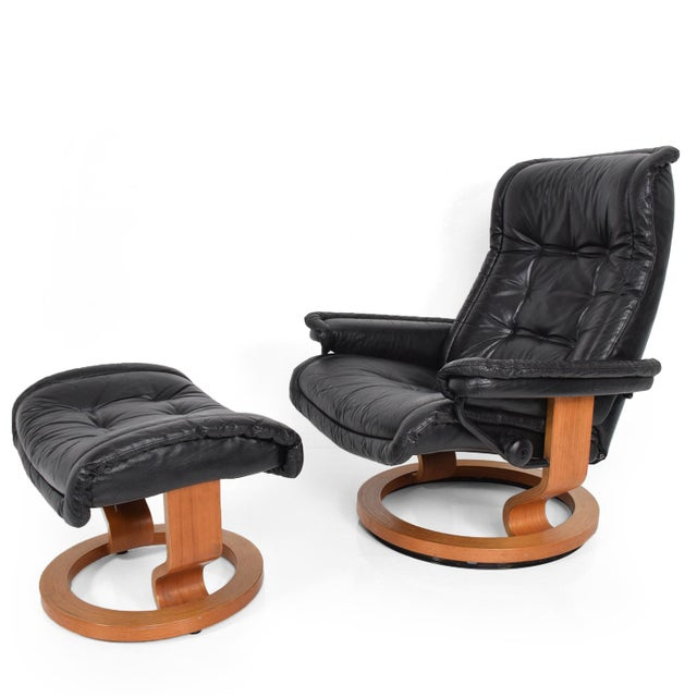 Vintage Scandinavian Modern Ekornes Stressless Recliner Chair & Ottoman For Sale - Image 11 of 11