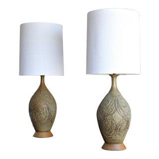 1960s Tom McMillin Ceramic Lamps - a Pair For Sale