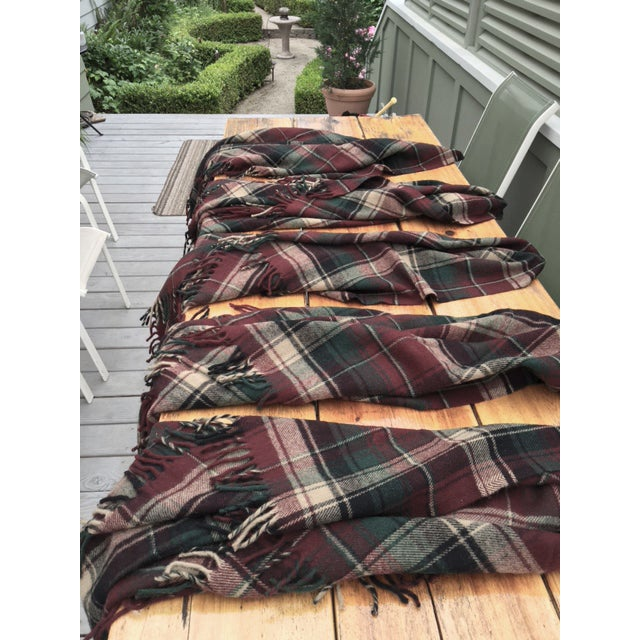 Vintage Faribault Plaid Pak a Robe Wool Blankets - Set of 5 - Image 8 of 8
