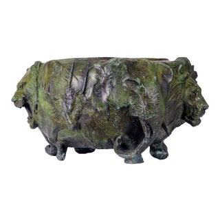 """A Japanese Bronze """"Animal"""" Jardiniere For Sale"""