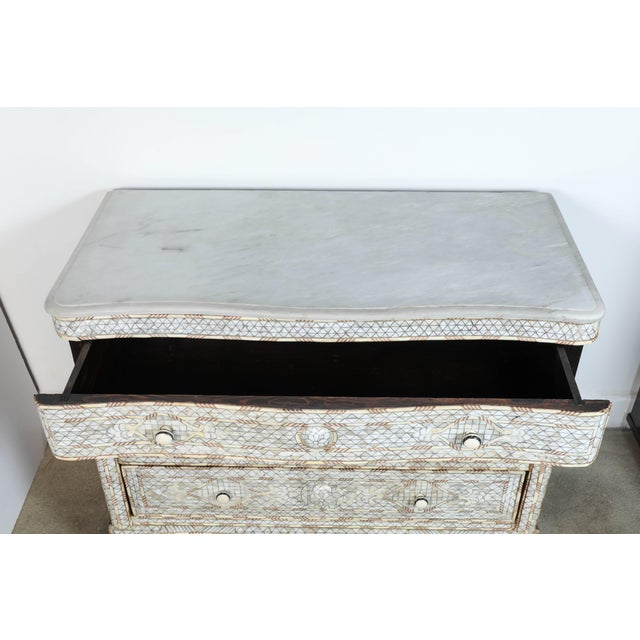 20th Century Syrian White Mother-Of-Pearl Inlay Wedding Dressers - a Pair For Sale In Los Angeles - Image 6 of 10