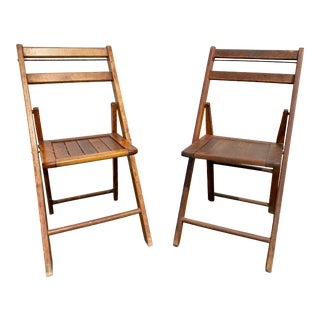 Vintage Wood and Metal Folding Chairs - a Pair For Sale