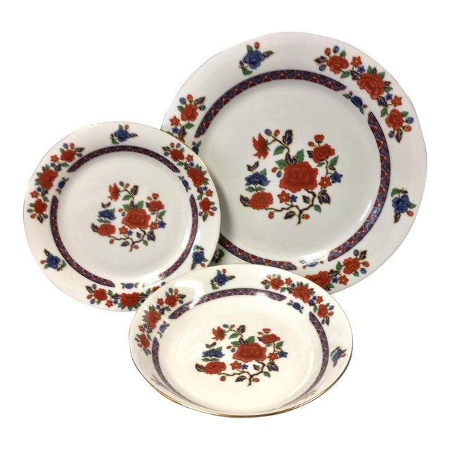 Crown Ming Old Imari Pattern China (3 Piece Settings) For Sale