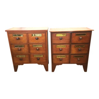 1900s Antique Cherry Apothecary Chests-a Pair For Sale