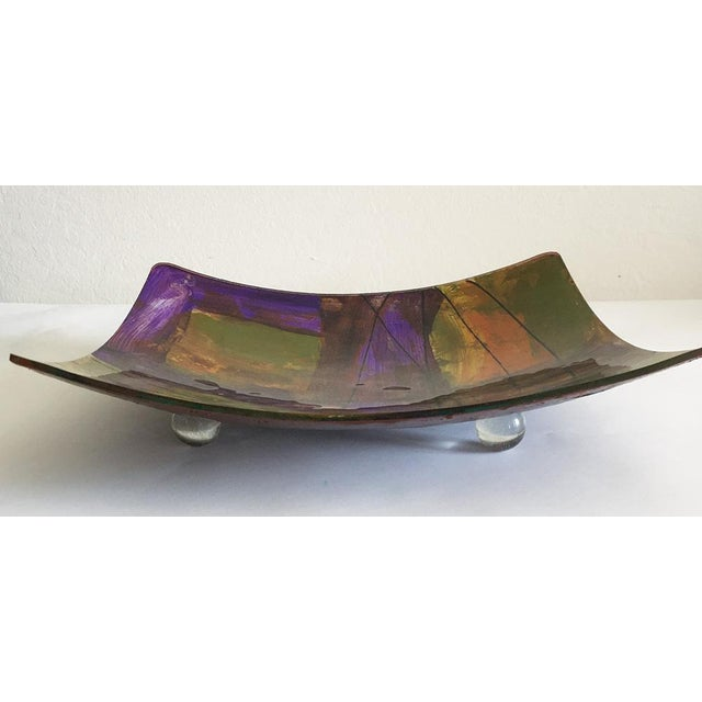 Purple, Green & Yellow Hand-Blown Plate - Image 3 of 4