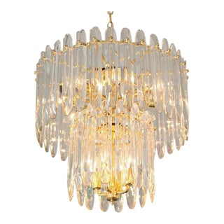 "Two-Tiered ""Knife-Blade"" Crystal Chandelier by Gaetano Sciolari For Sale"