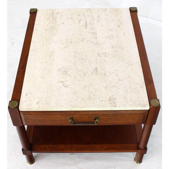 Pair of Travertine Tops One Drawer Oiled Walnut End Side Tables For Sale - Image 10 of 13