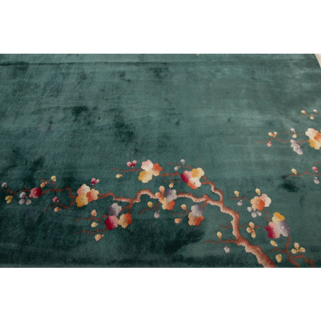 "Green Apadana-Antique Chinese Rug, 8'9"" X 11'6"" For Sale - Image 8 of 11"