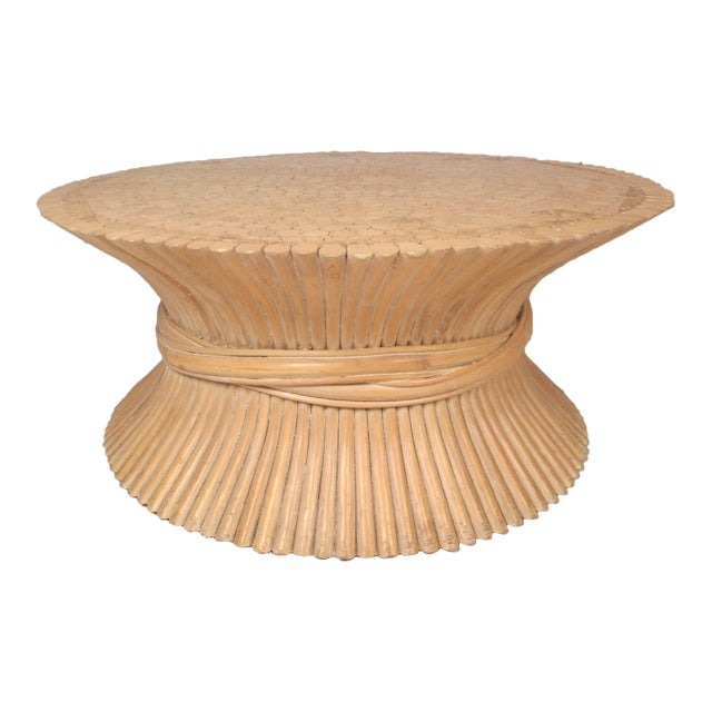 Vintage Modern McGuire Bamboo Wheat Sheaf Coffee Table For Sale